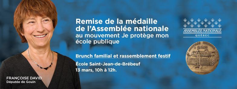 Remise de la médaille de l'Assemblée nationale au mouvement JPMEP